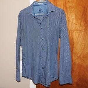 Bugatchi Mens Casual Shirt Blue Medium Shaped Fit